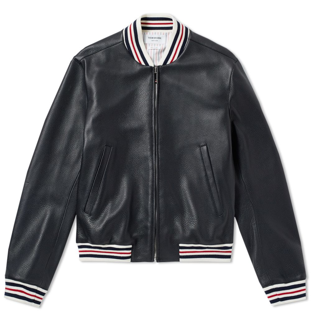 0982e7bff18 Thom Browne Deerskin Leather Varsity Jacket Black