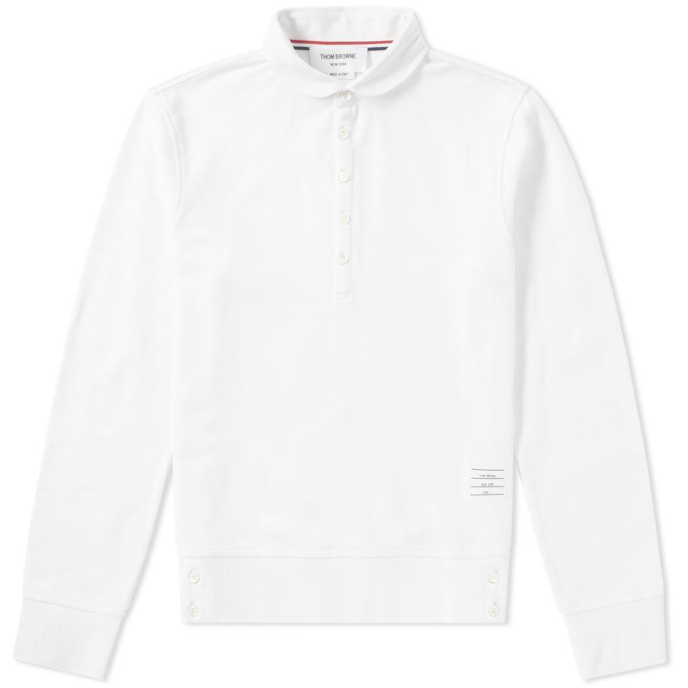 6de05dda566 Thom Browne Long Sleeve Contrast Collar Pique Polo White   END.