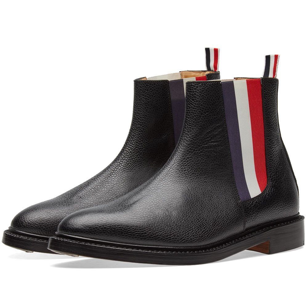 039401eeea9 Thom Browne Tricolour Chelsea Boot Black Pebble Grain
