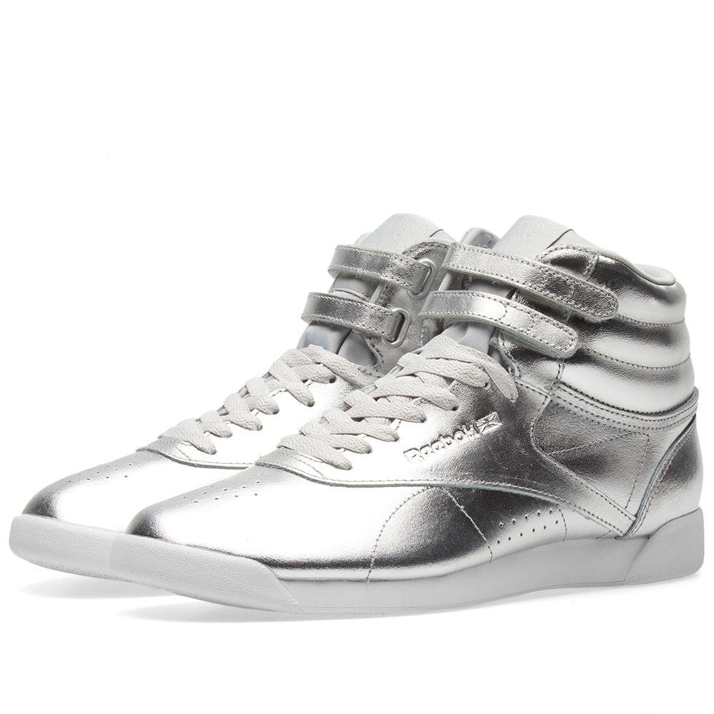 e71a86ef3b3 Reebok Freestyle Hi Metallic W Silver
