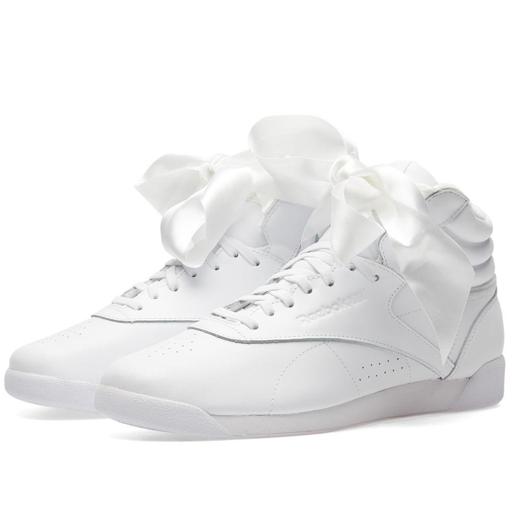 ea6ba93060147 Reebok Freestyle Hi Satin Bow W White   Skull Grey