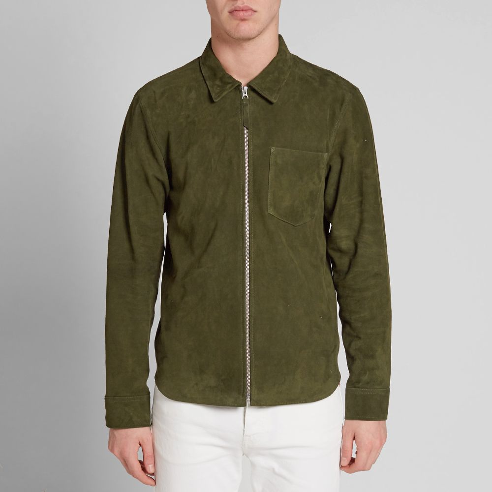 cf104c4bf555b Our Legacy Suede Zip Shirt Army Green