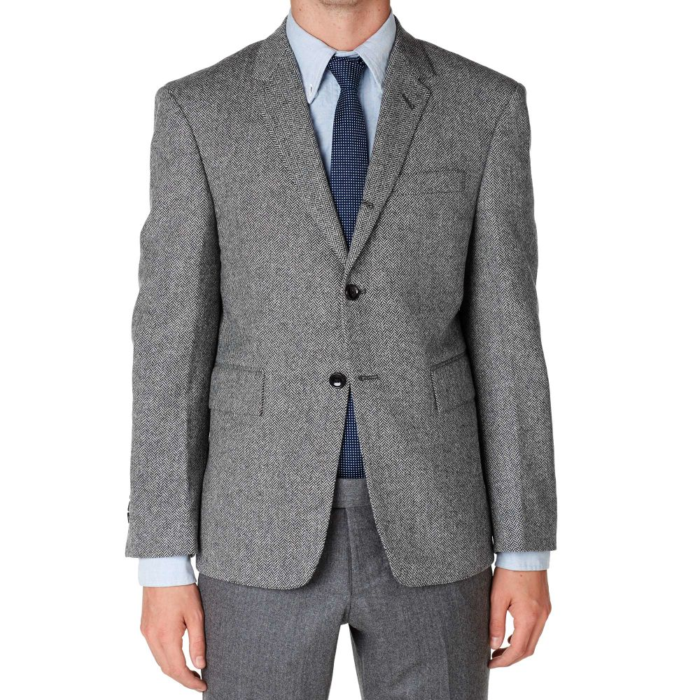 86b190c8a409 Thom Browne 3 Button Wool Blazer Grey Herringbone