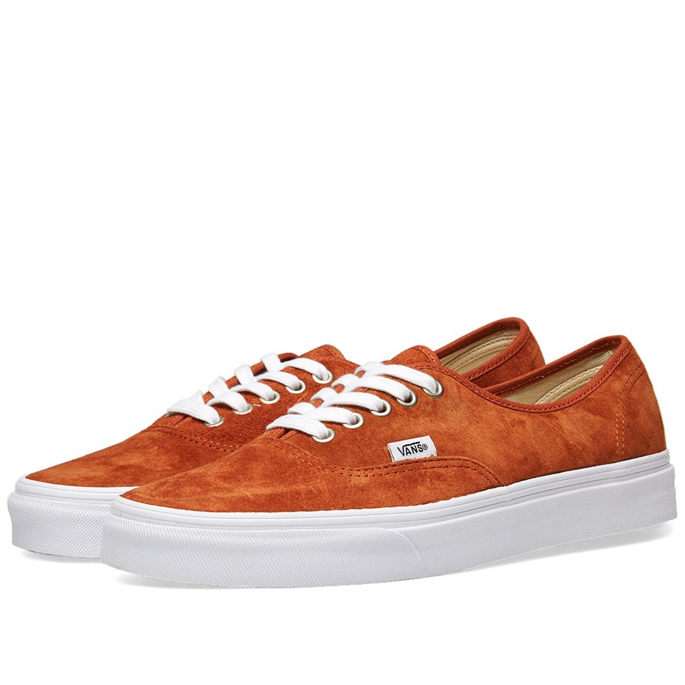 Vans Authentic Pig Suede Leather Brown   True White  2a12e8a0f