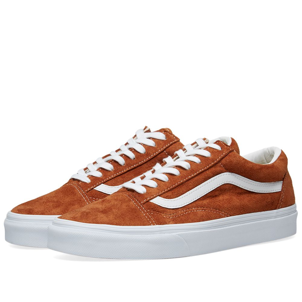 f13f8de3b1f Vans Old Skool Pig Suede Leather Brown   True White