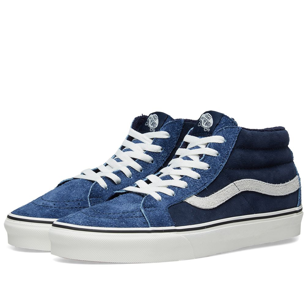 52fe32d80e Vans SK8-Mid Reissue Hairy Suede Dress Blues   Snow White