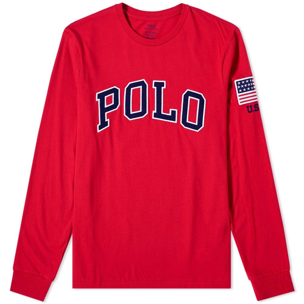 Polo Ralph Lauren Long Sleeve Usa Logo Tee Ralph Red End