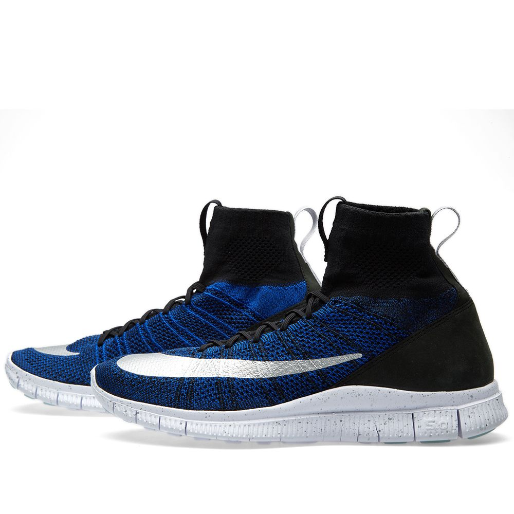 sale retailer 8bf7f 0c7cb Nike Free Flyknit Mecurial Black, Racer Blue & White | END.