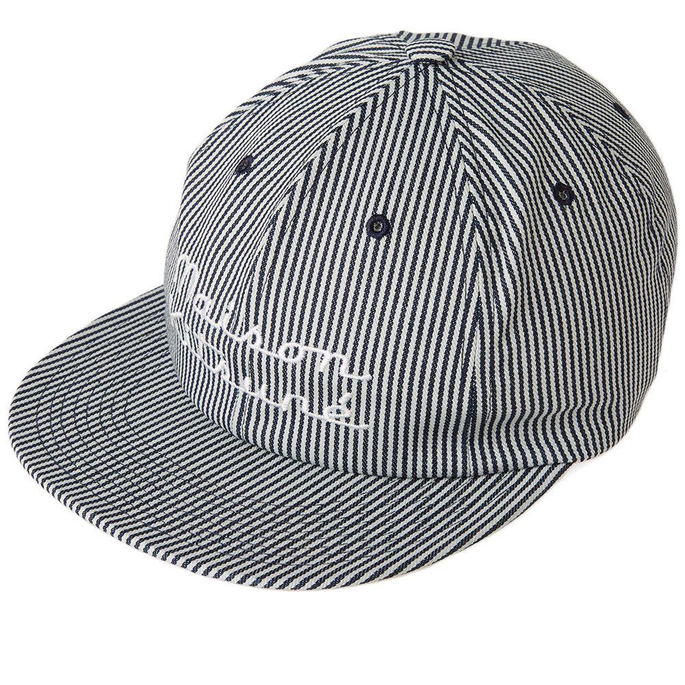 5ff560bc50929 Maison Kitsuné Striped Baseball Cap Navy Stripe
