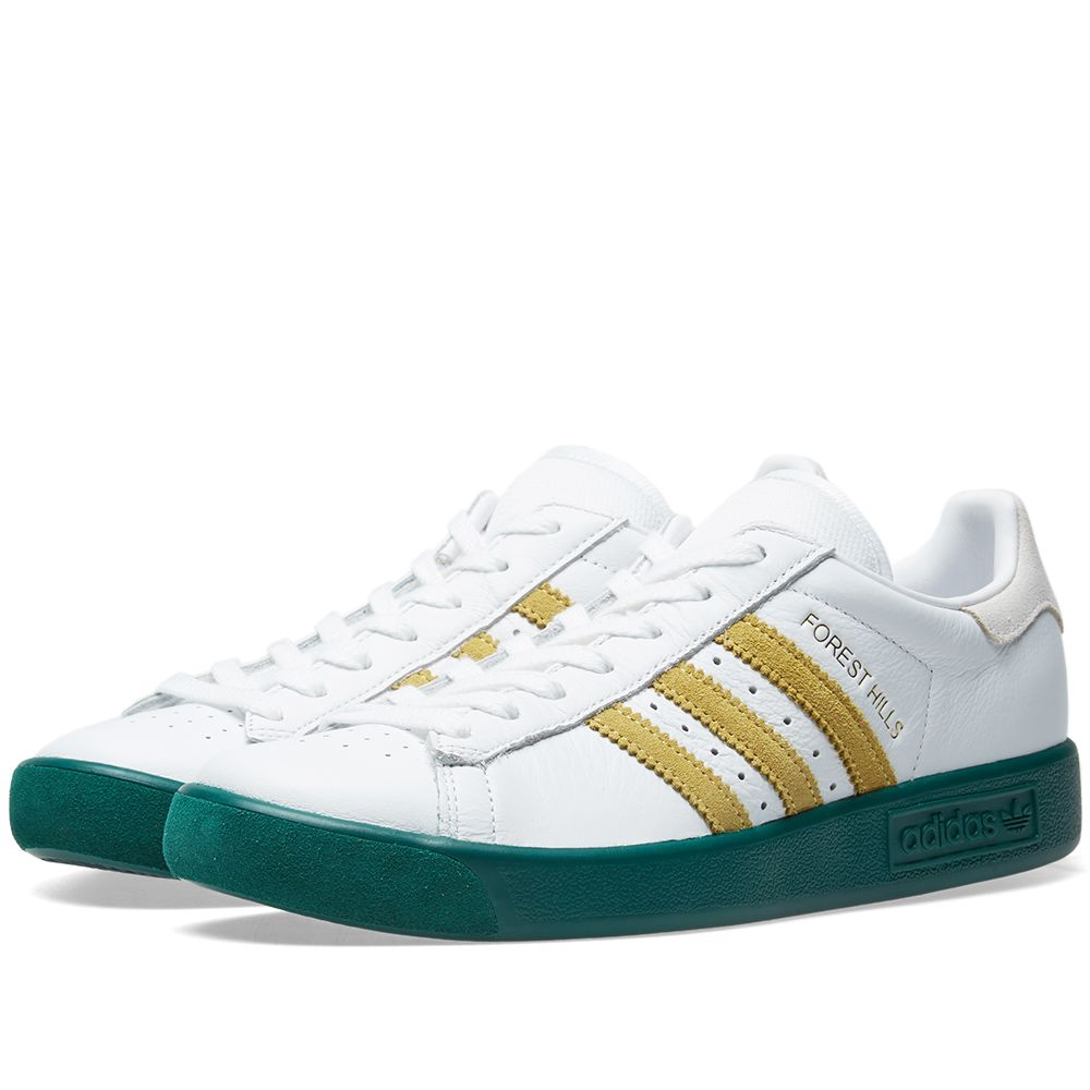 on sale e90df cd943 Adidas Forest Hills White, Metallic Gold  Green  END.