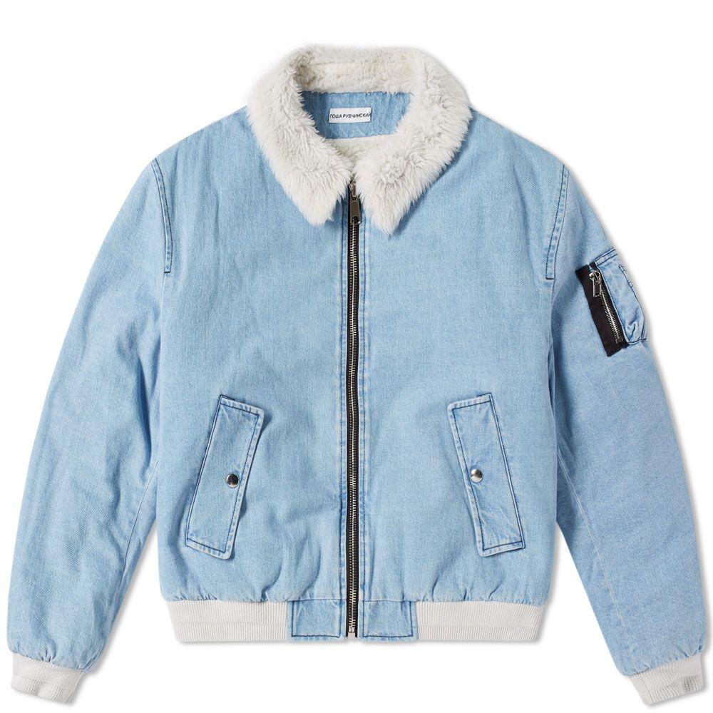bc2780c034cc Gosha Rubchinskiy Faux Shearling Collar Denim Jacket Blue Washed