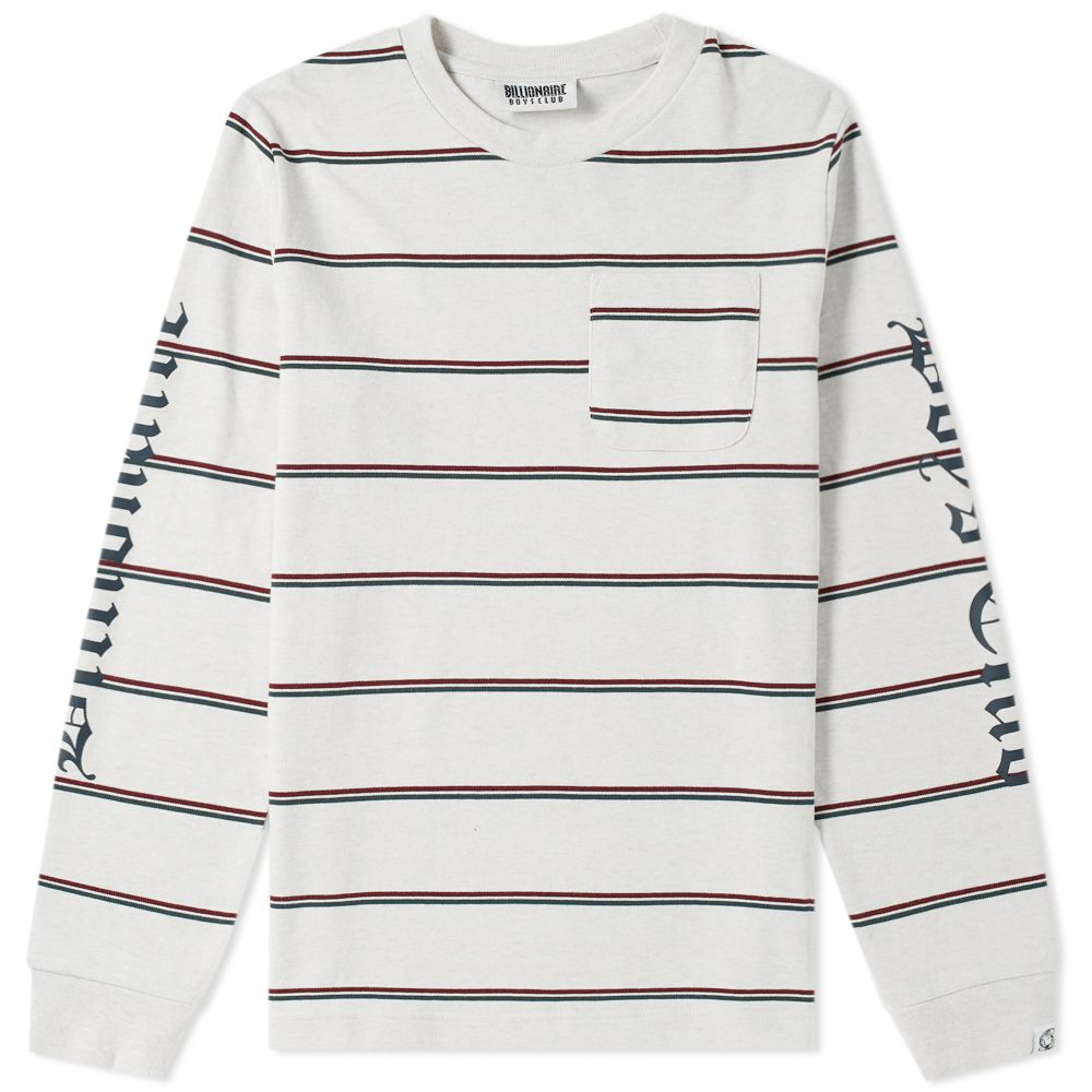 f2329cc12390 Billionaire Boys Club Long Sleeve Striped Pocket Tee White Marl