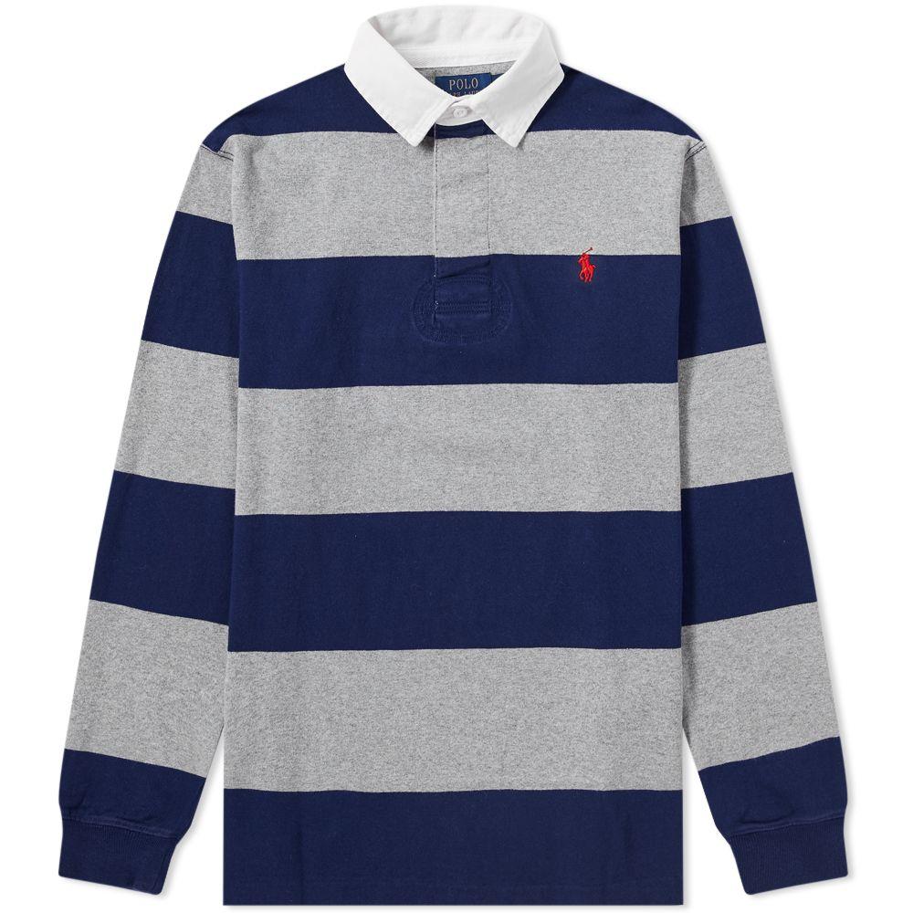 ca39d960fc6 Polo Ralph Lauren Stripe Rugby Shirt Newport Navy   League Heather ...