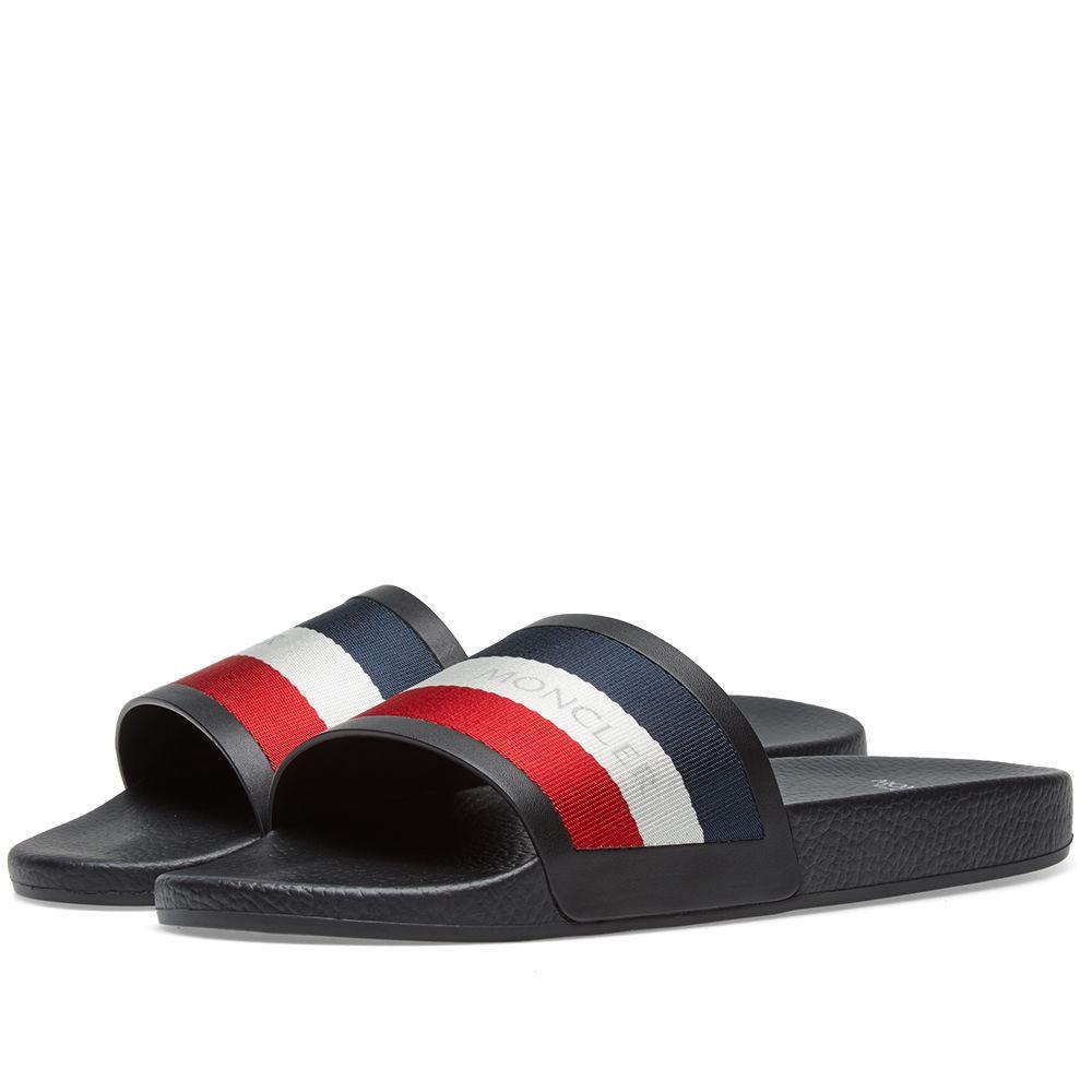 b84e299b3906 Moncler Tricolour Pool Slide Black