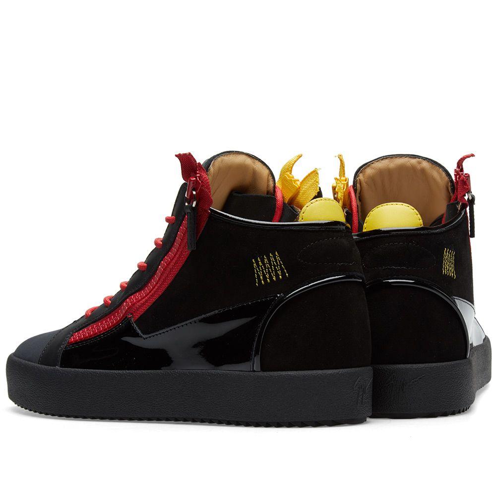 85d8fe2c34c Giuseppe Zanotti Double Zip Deconstructed Mid Sneaker Black   Red