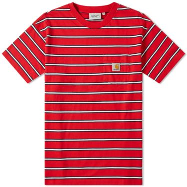 0a99342db6e2 Carhartt Houston Pocket Tee Cardinal Stripe