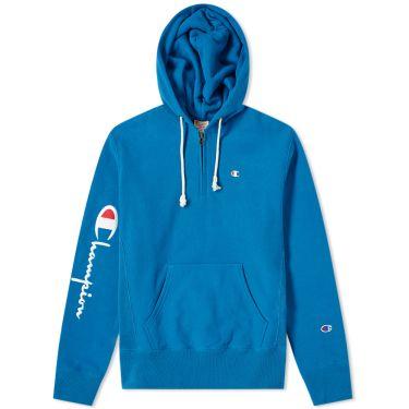 a1e46fc41c2 Champion Reverse Weave Logo Half Zip Hoody Pastel Denim