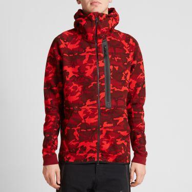 Nike Tech Fleece Camo AW77 Hoody Team Red   Black  fd3874212b1d