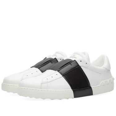 b5ada88f17e0 Valentino Open Slip On Sneaker White   Black
