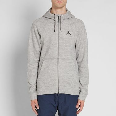 693ff39d595852 Nike Jordan Wings Zip Hoody Dark Grey Heather   Black
