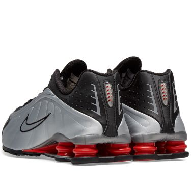 bb719168505 Nike Shox R4 White Metallic Silver   Orange