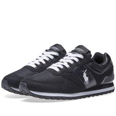 Polo Ralph Lauren Slaton Pony Sneaker Black   White  c0651c498de