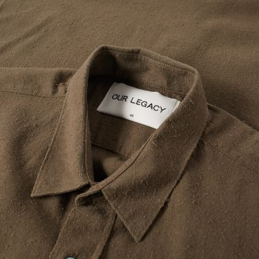 37fe14a10dacc Our Legacy Classic Shirt Dark Olive Silk