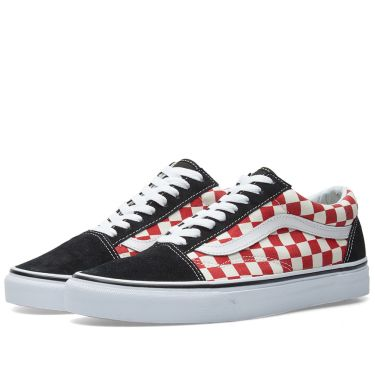 2776c4caeb2e Vans Old Skool Checkerboard Black   Red
