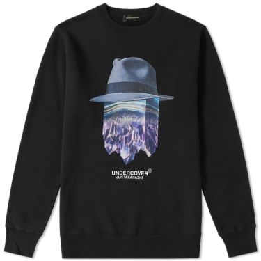 Undercover Crystal Hat Logo Crew Sweat Black  24d0c2ce11