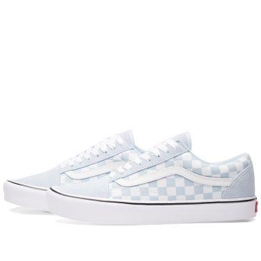 2b7f65457d74 Vans Old Skool Lite Checkerboard Baby Blue   True White