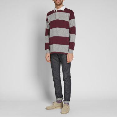468f90eb2c05 Beams Plus Knitted Stripe Rugby Shirt Grey   Burgundy