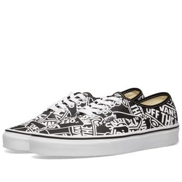 Vans Off The Wall Printed Authentic Black   True White  ed80217aa