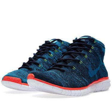adb1a4316674f7 Nike Free Flyknit Chukka Dark Obsidian   Bright Crimson