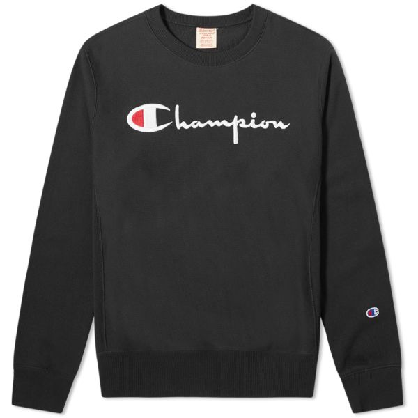 Champion Script Sleeves Black Long Sleeve T Shirt