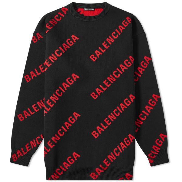 Balenciaga Repeat Logo Crew Knit Black
