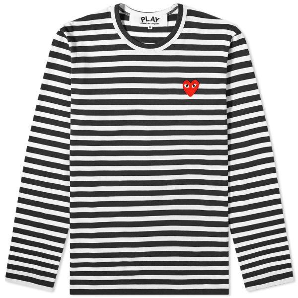 Comme des Garcons Play Long Sleeve Heart Logo Stripe Tee