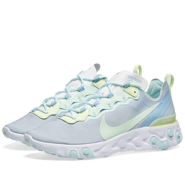 Nike React Element 55 W White, Spruce & Volt | END.
