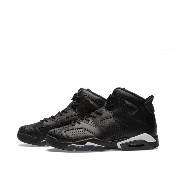 Nike Air Jordan 6 CAT ALL BLACK 384665-020 Boys Grade School Basketball Shoe 4Y