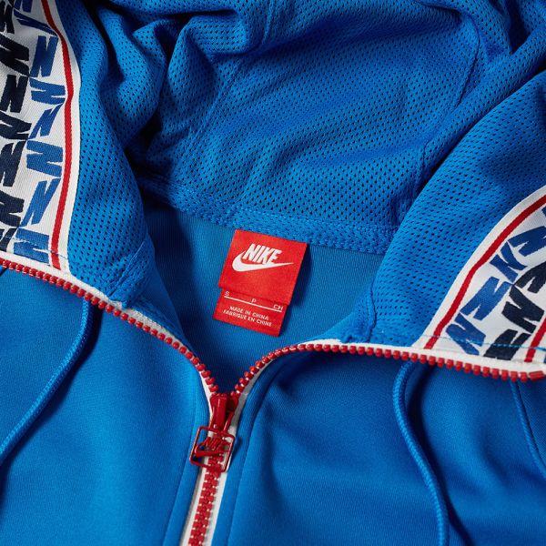 Nike NSW Taped Half Zip Hood Poly blue nebula gym red sail Sweatshirts |