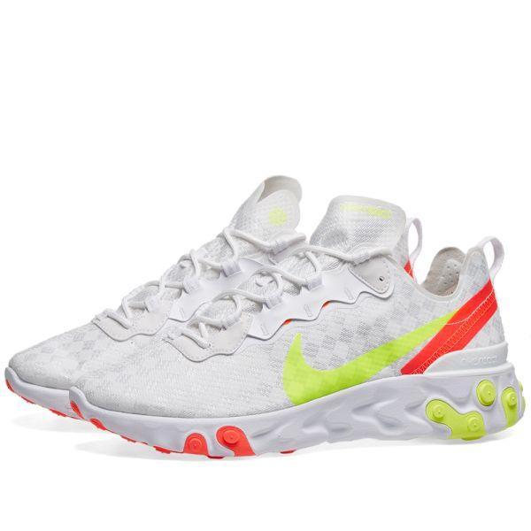 Nike React Element 55 White, Volt