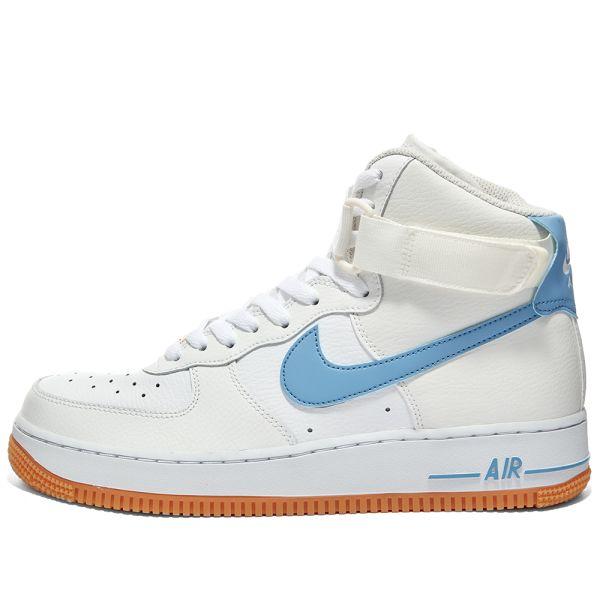 Nike Air Force 1 Hi W White Light Blue Brown End