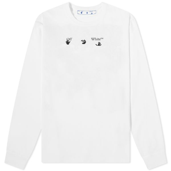 Off-white cream embroidered long sleeve waffle long sleeve shirt size large with purple black green orange turquoise blue brighter in front