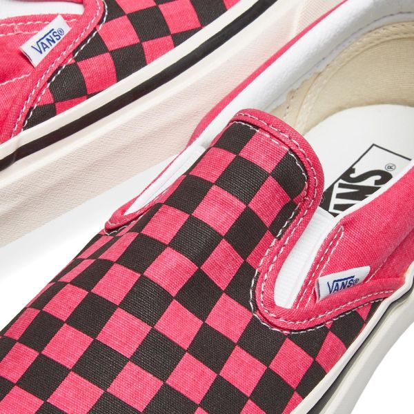 vans burgundy checkerboard slip ons