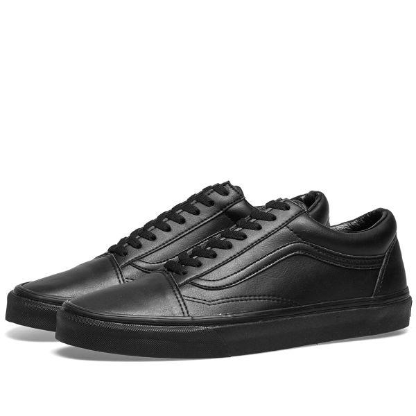 all black vans leather