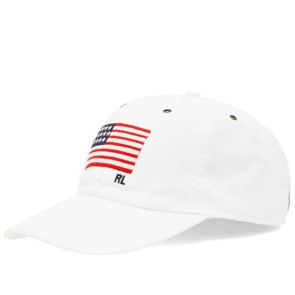 Polo Ralph Lauren Men/'s White USA Flag Adjustable Baseball Hat