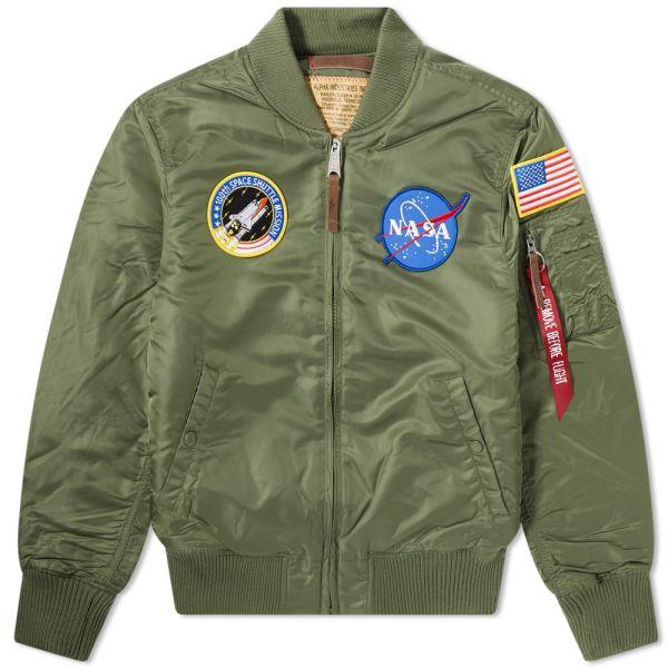 Alpha Industries MA 1 VF NASA Bomber Jacket Green 【166107