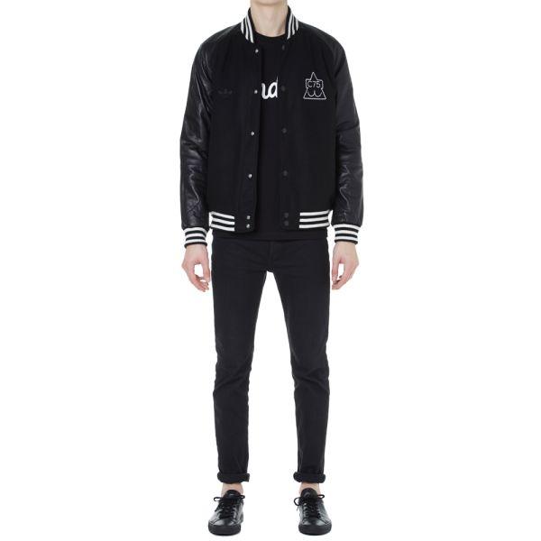 Adidas Originals x CLUB 75 Varsity Jacket black Size M M63771 Consortium Lederjacke