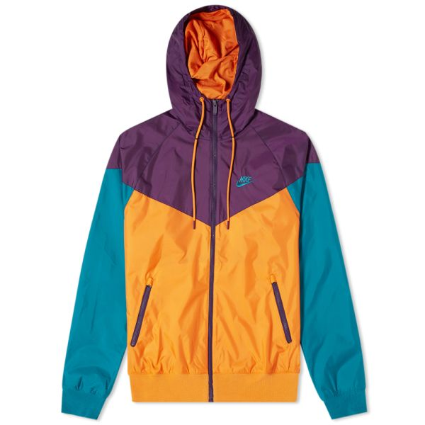 "Purple and turquoise hooded Nike ""Windrunner"" rain jacket"