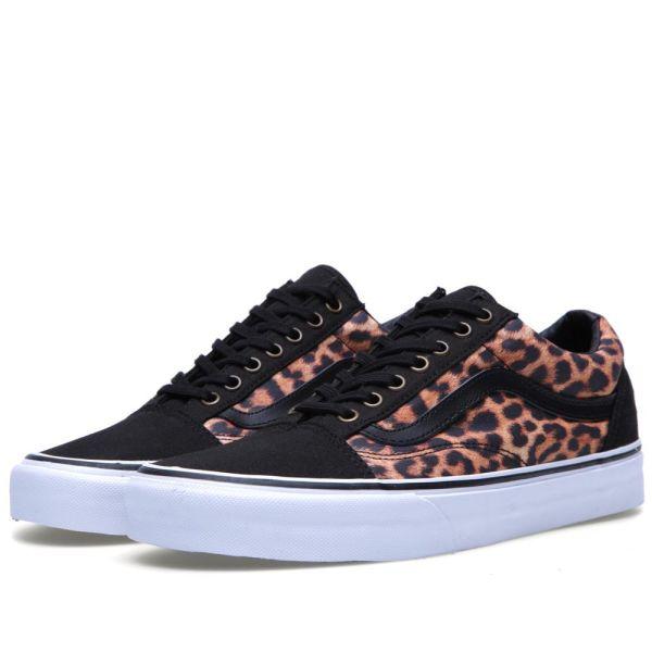 black vans leopard print stripe