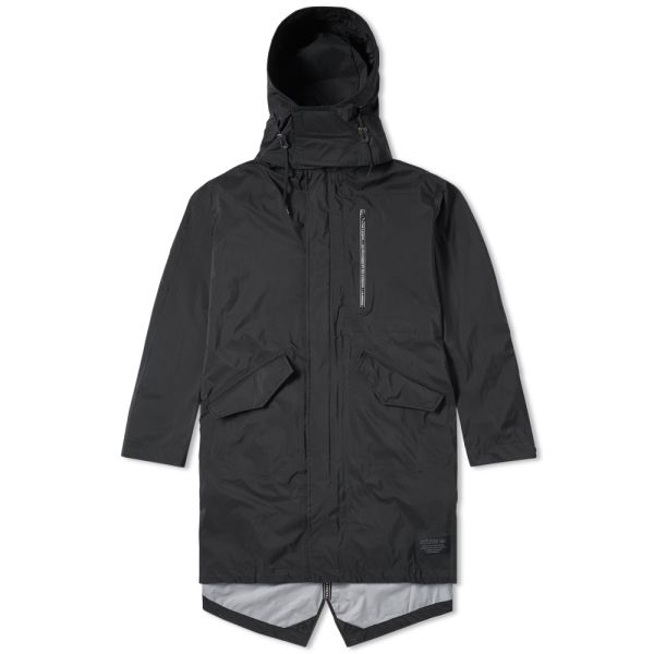 Details about adidas Originals Mens NMD Shell Jacket Waterproof Long Parka Hooded Coat Black